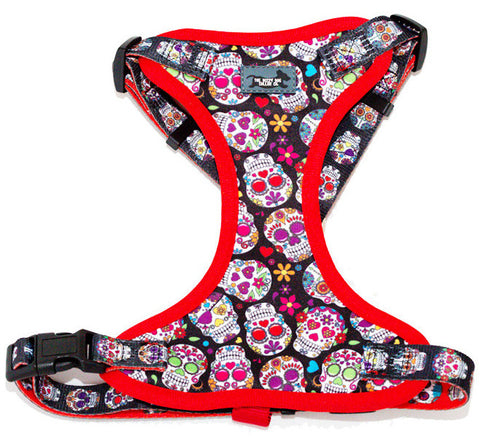 Sugar Skulls Comfort H-Harness, for XS-XL dogs
