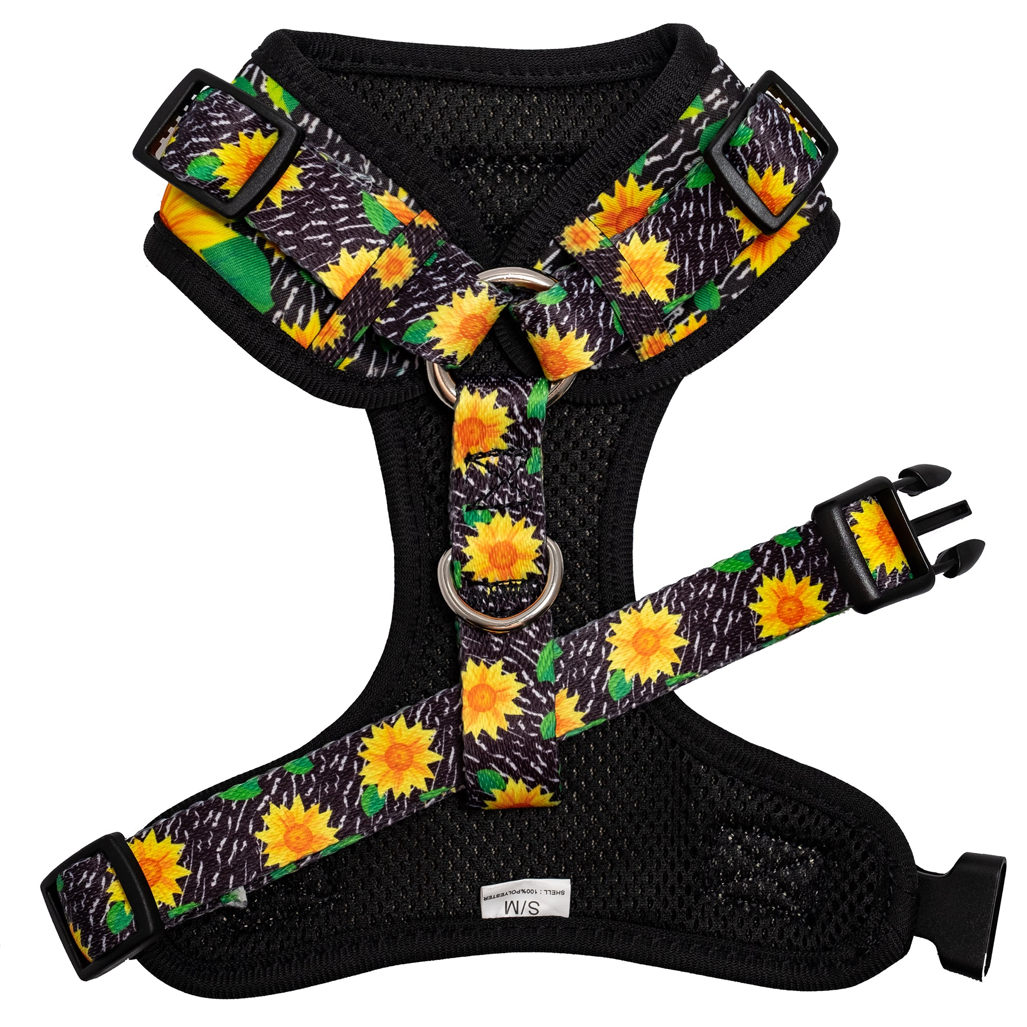 adjustable dog harness in sunflower print