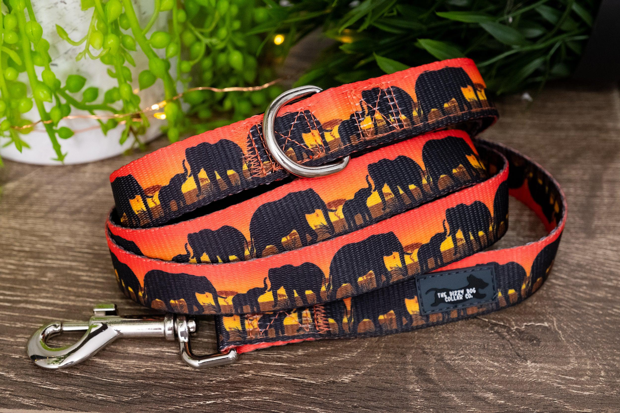 Sunset Elephants Dog Leash (Premade)-Dizzy Dog Collars