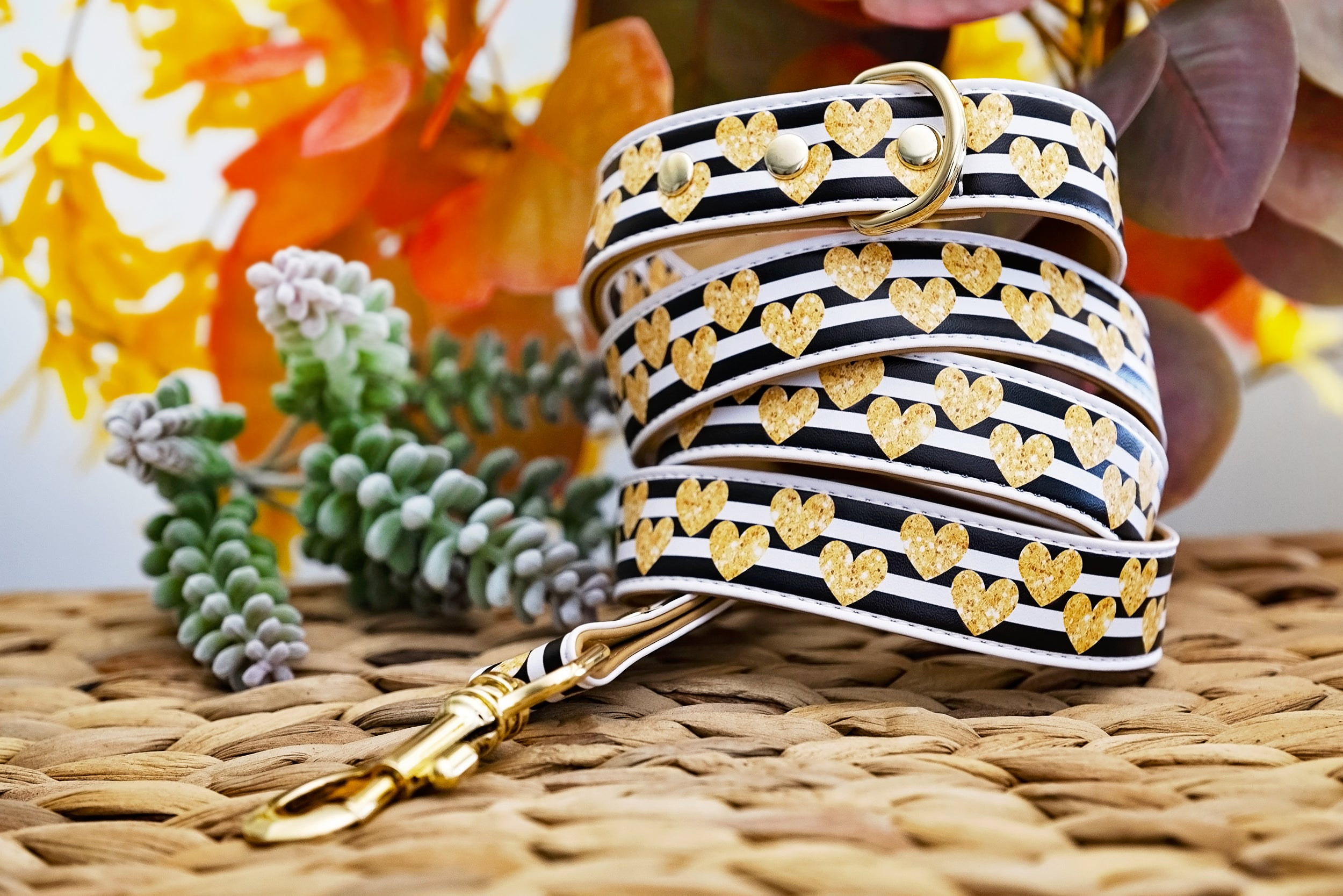 The Cupid: Gold, Vegan Leather Dog Leash (Premade)-Dog Collar-Dizzy Dog Collars