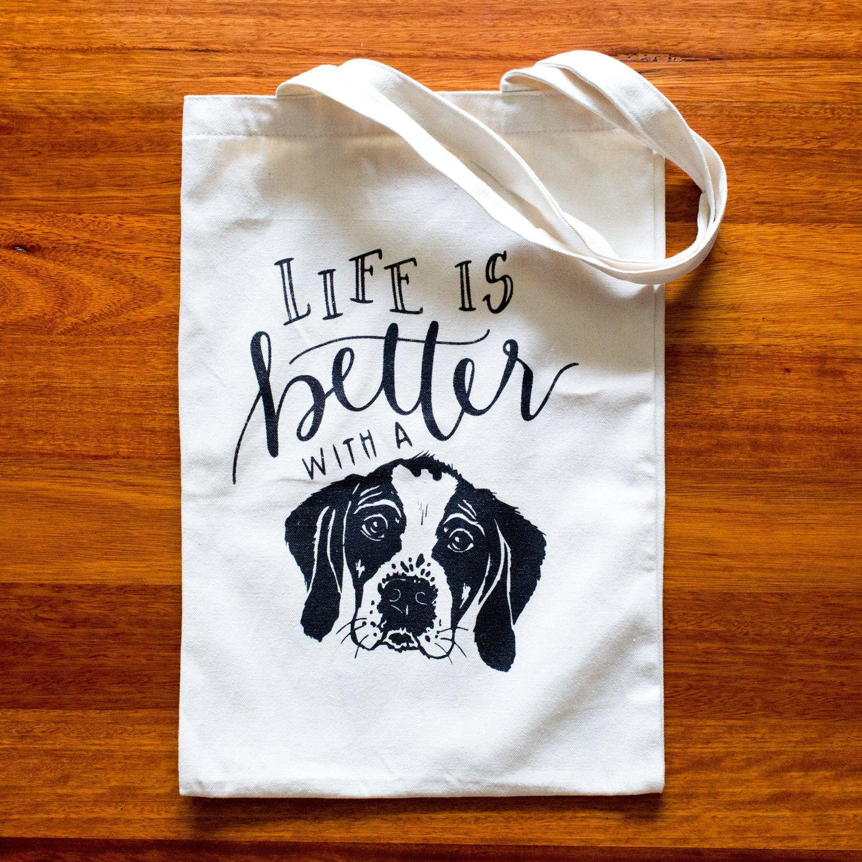 Life is Better with a Dog Tote Bag-Tote-Dizzy Dog Collars-Dizzy Dog Collars