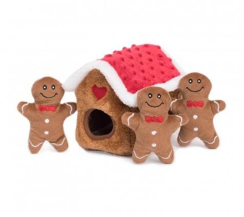 Holiday Burrow- Gingerbread House - Interactive Dog Toy