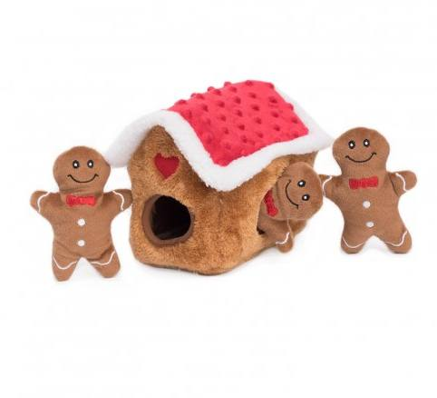 Holiday Burrow- Gingerbread House - Interactive Dog Toy-Dizzy Dog Collars-Dizzy Dog Collars