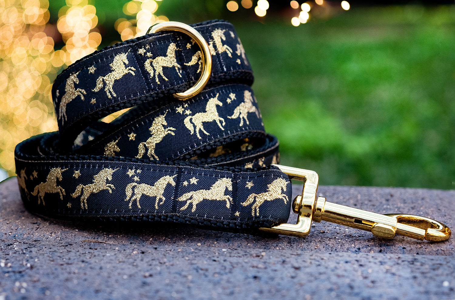 Gold Unicorns Dog Leash-Dizzy Dog Collars-Dizzy Dog Collars