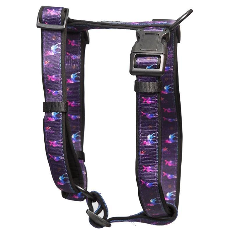 Watercolour Deer H-Harness (Neoprene Padding)-Dizzy Dog Collars-Small (2cm Wide)-Dizzy Dog Collars