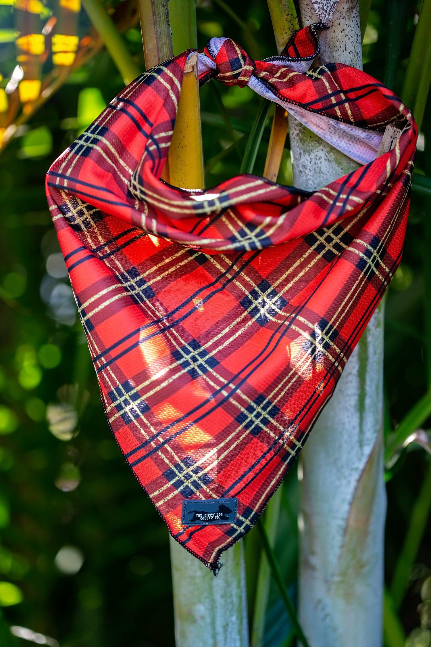 Christmas Plaid Bandana - Tie Up Dog Bandana-Dizzy Dog Collars