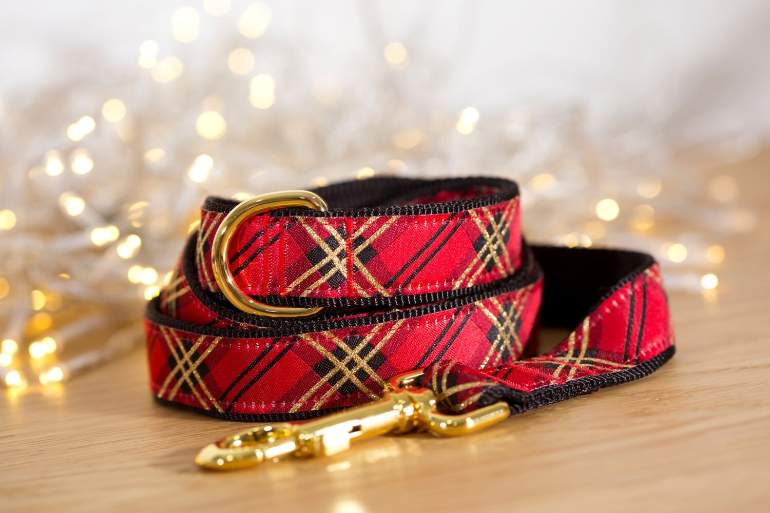 Red & Gold Christmas Plaid Dog Lead (Nylon)-Dizzy Dog Collars