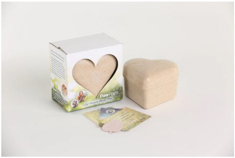 Paw Pods - Heart Urn - eco-friendly, biodegradable pet urn or burial pod