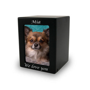Black MDF Pet Photo Cremation Urn - Extra Small - Urn Of Memories