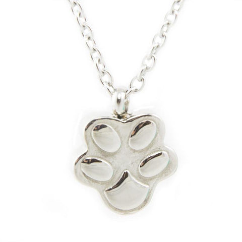 Cremation Pet Urn Pendant Necklace Paw Print - Stainless Steel - Urn Of Memories