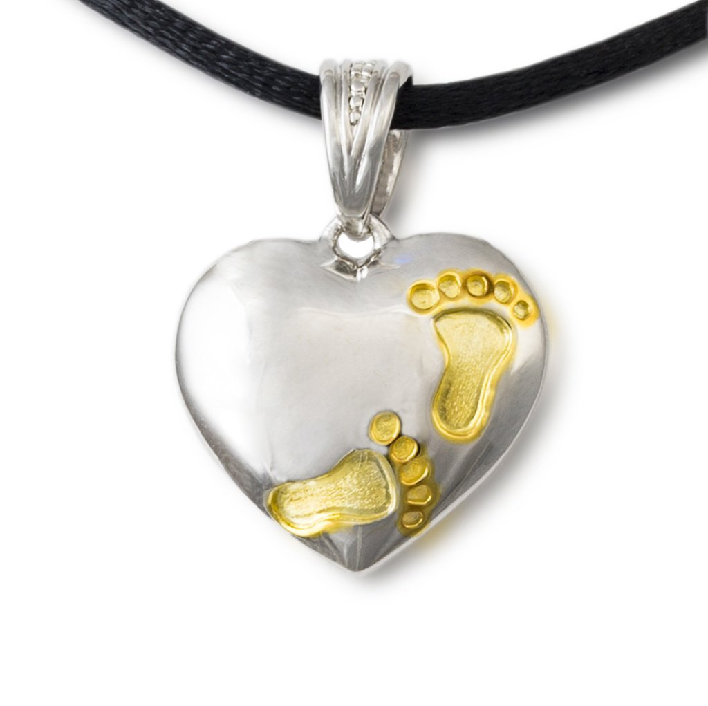 Footprints on My Heart Cremation Pendant - Sterling Silver - Urn Of Memories