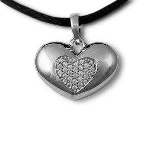 Jeweled Heart Cremation Pendant - Sterling Silver - Urn Of Memories