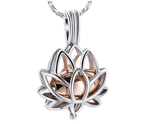 New Design! Gift Necklace Lotus Flower Holds Mini Urn for Ashes Stainless Steel Cremation Jewelry Pendant Necklace For Ashes - Urn Of Memories