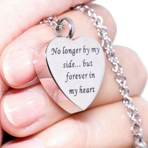 NEW! No Longer By My Side But Forever In My Heart - Heart Shaped Necklace Cremation Pendant Ashes Urn - Memorial Jewelry - Urn Of Memories