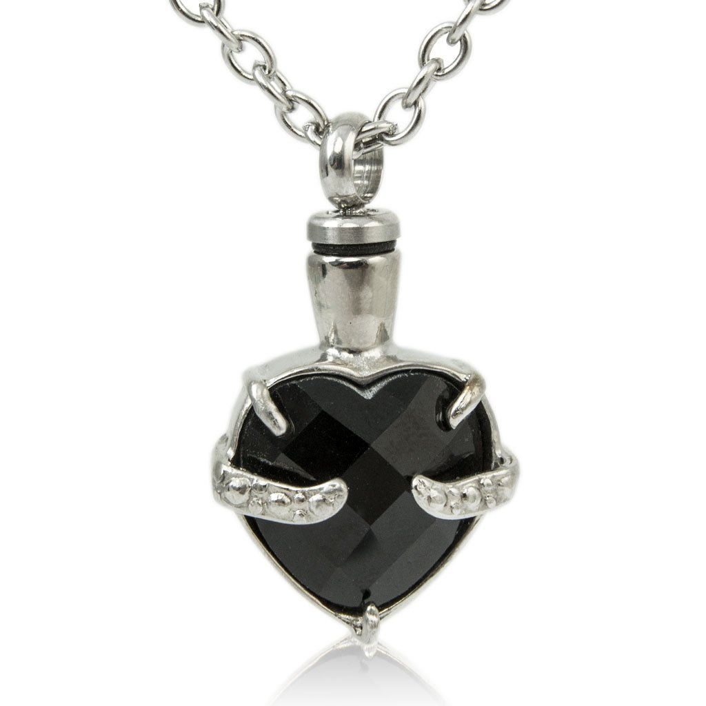 Obsidian Heart Cremation Necklace for Ashes - Urn Of Memories