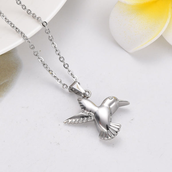 "Bird "" Hummingbird With Crystal Eyes "" Urn Pendant Necklace for cremation Ashes"