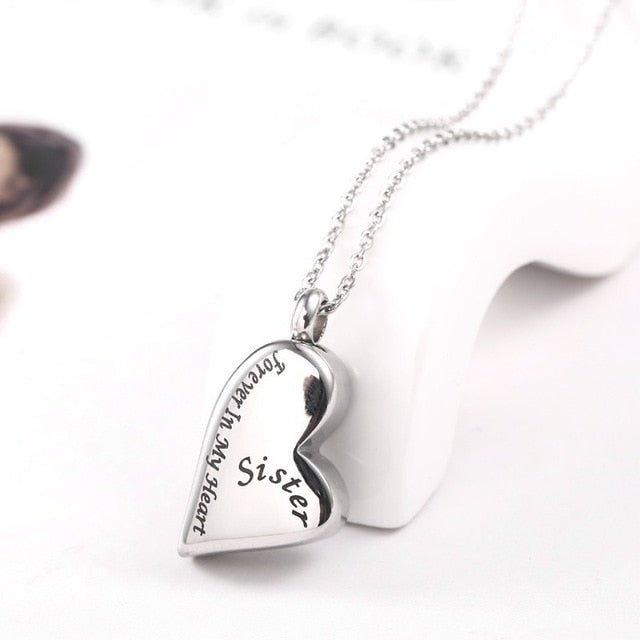 Sister - Heart Necklace Urn Pendant - Forever in My Heart  - Cremation Jewelry