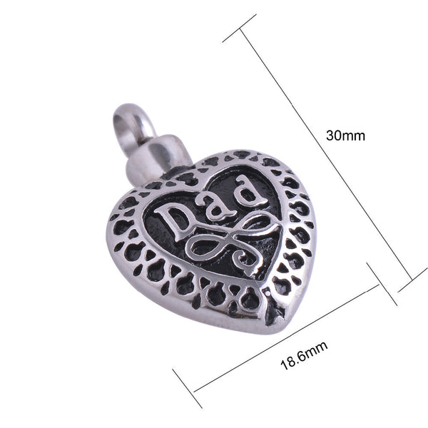 Fashion Jewlery - Memorial Dad Heart Pendant Necklace Stainless Steel