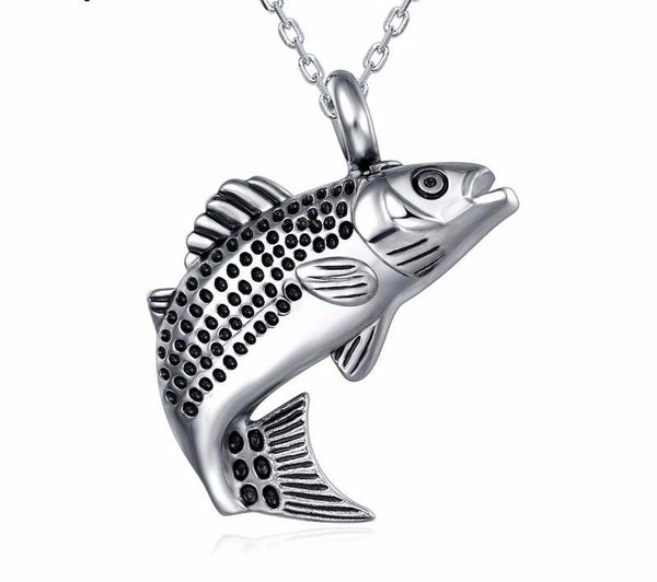 Fish Shape Urn Pendant for Cremation Ashes - Necklace.