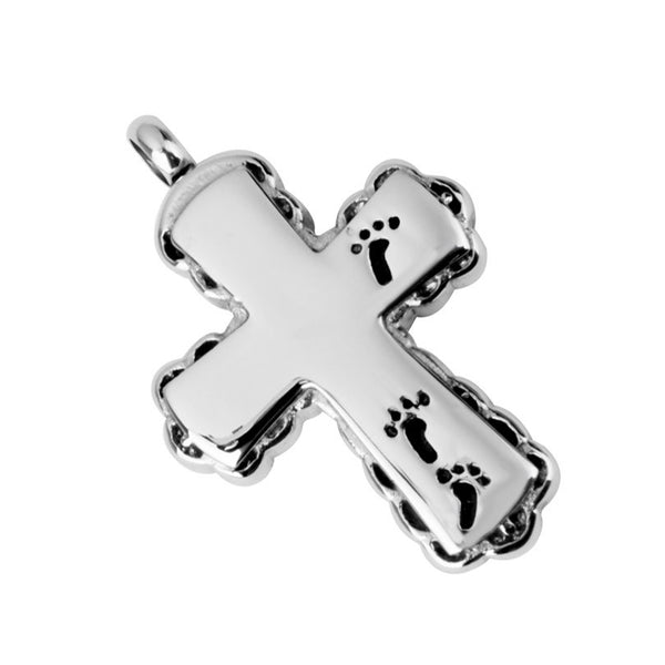 Urn . Christian Cross with Footprints Cremation Jewelry