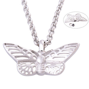Cremation Jewelry - Silver Tone Butterfly Cremation Pendant Necklace