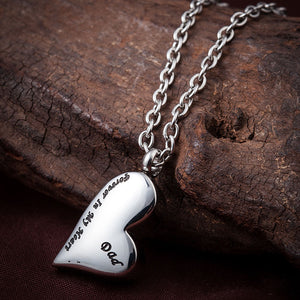 Father / Dad Heart Necklace Urn Pendant - Forever in My Heart - Cremation Jewelry .