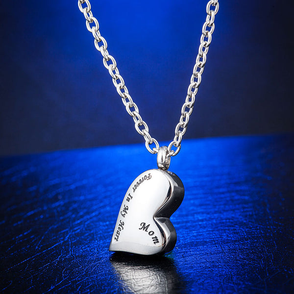 Mother / Mom Heart Necklace Urn Pendant - Forever in My Heart  - Cremation Jewelry