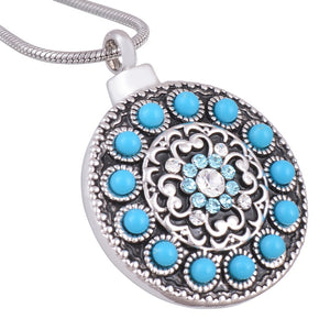 Blue stones Pendant Necklace Urn for Cremation Ashes