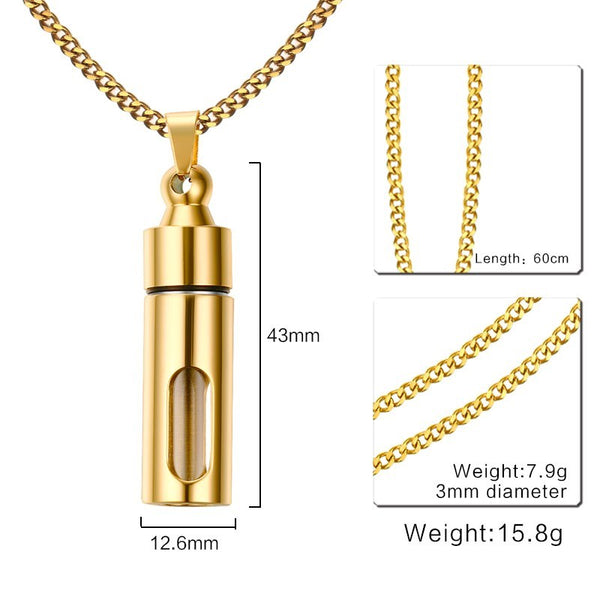 Glass Cylinder Pendant Necklace - Cremation Ashes Urn Gold Color