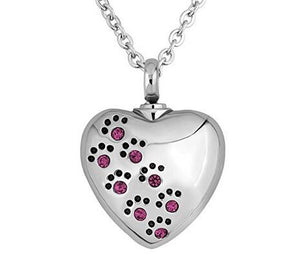 Pet Dog Paw Print on a Heart Urn Pendant Necklace for Cremation Ashes - Purple