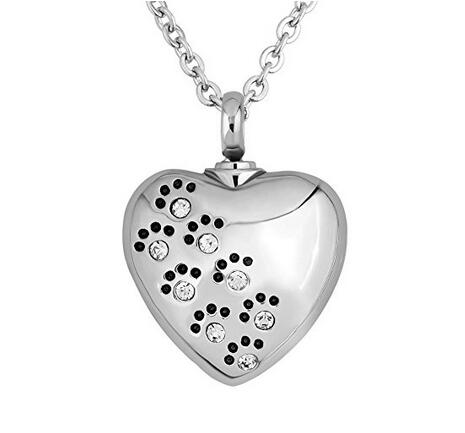 Pet Dog Paw Print on a Heart Urn Pendant Necklace for Cremation Ashes - White
