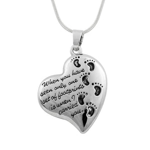 Heart Shaped Footprints Pendant Prayer Cremation Memorial Urn Necklace