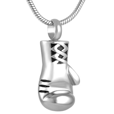 Boxer Gloves - Cremation Necklace Pendant - Pendant is an Urn to safekeep Cremation Ashes - Silver Color