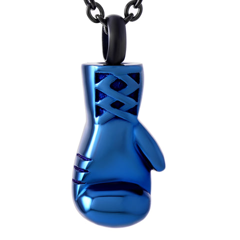 Boxer Gloves - Cremation Necklace Pendant - Pendant is an Urn to safe keep Cremation Ashes - Blue Color