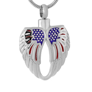 Angel Wing Feather Heart With The American flag Cremation Pendant Jewelry For Cremation Ashes - Patriotic