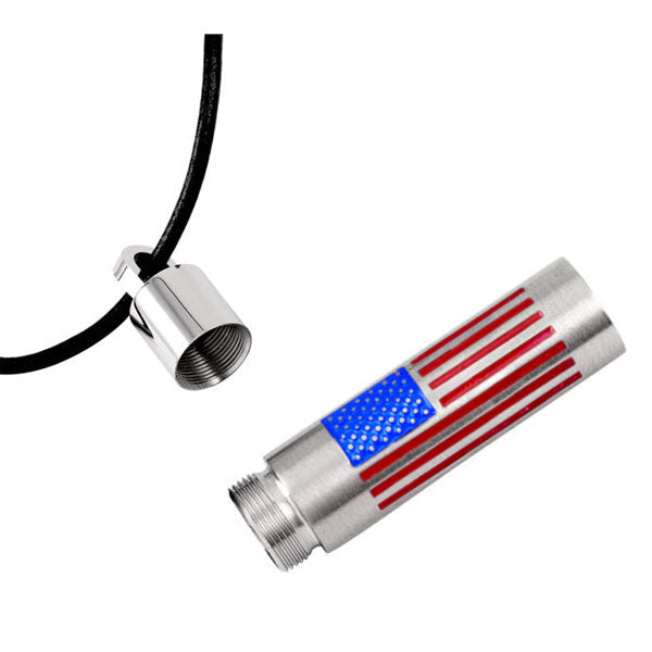 US National Flag stainless steel Open Tube urn pendant necklace - cremation jewelry