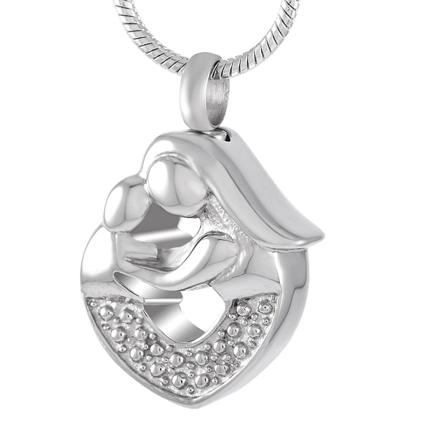 Mother - Mom Hug a Baby in a Heart shaped Urn Pendant Necklace - Cremation Jewelry