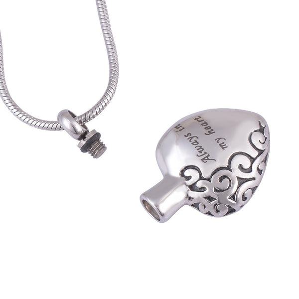 "Cremation Jewelry - ""Always in My Heart""  Memorial Cremation Jewelry Ashes Urn Pendant Necklace."