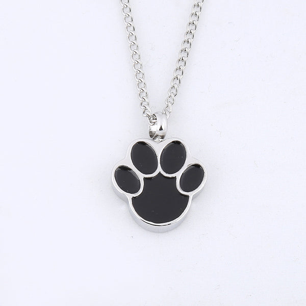 Cat or Dog Paw - Urn Pendant Necklace For Pet Cremation Ashes from image with a white background