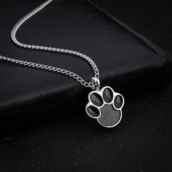 Cat or Dog Paw - Urn Pendant Necklace For Pet Cremation Ashes front image with black background