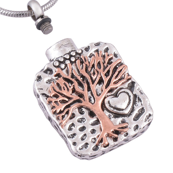 "Pendant ""Tree of Life""  Cremation Jewelry Urn Necklace - Antique Silver Color"