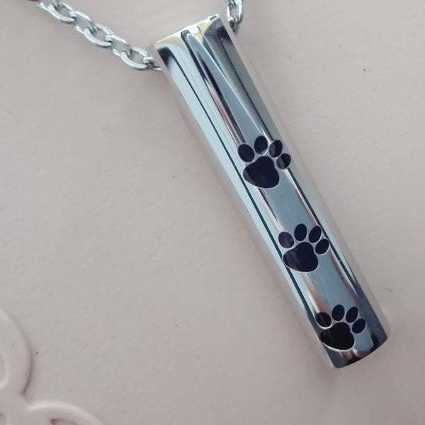 Dog Paw Print Cremation Urn Necklace Pendant