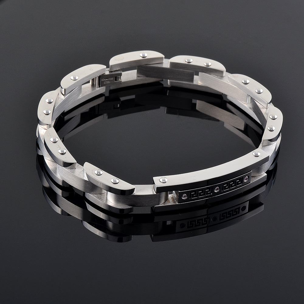 Black Crystal Inlay  High Grade Metal Bracelet -  Cremation Urn Ash Holder Hand Bracelet