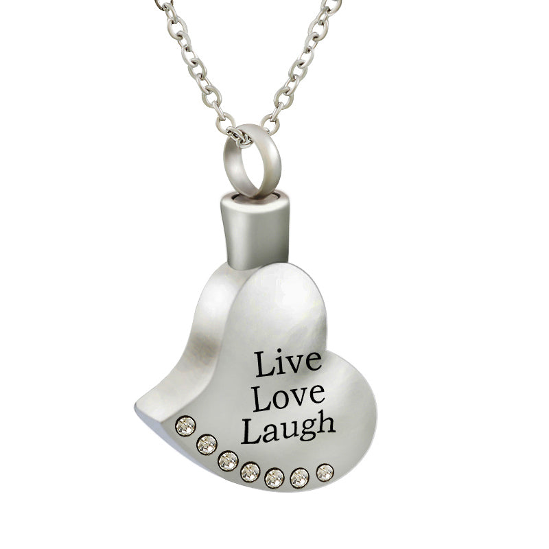 Heart with Rhinestones Urn Pendant Necklace For Cremation Ashes - Live Love Laugh