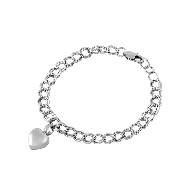 Stainless Steel Bracelet with Urn Heart Charms Bangle for cremation Ashes. Stainless steel color.