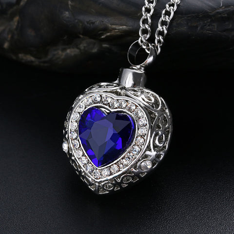 Blue Stone in a heart shaped Cremation Ashes Urn Pendant Necklace - Cremation Jewelry