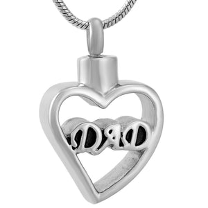 Dad In My Heart Cremation Jewelry Pendant = Stainless Steel