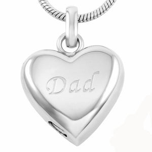 Dad Heart Urn Pendant -  Memorial Cremation Ash Necklace -  Stainless Steel Cremation Jewelry