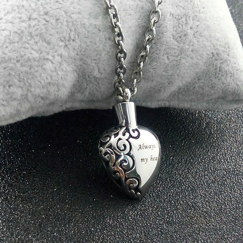 """ Always in My Heart "" Love Heart Necklace Memorial Cremation Ashes Urn Necklace Pendant"