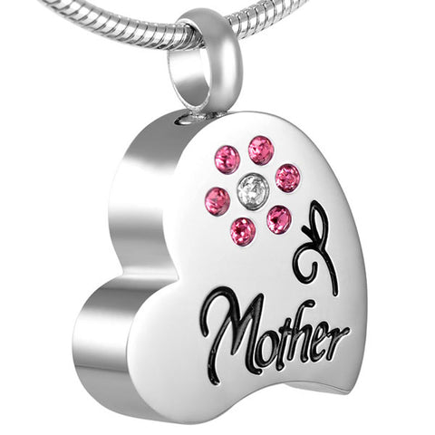 Mom Heart shape design with a Flower Urn Pendant  - Cremation Jewelry Necklace